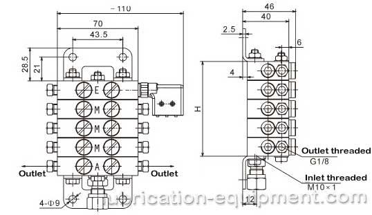 Distribuidor progresivo ZP-A-Dimensiones