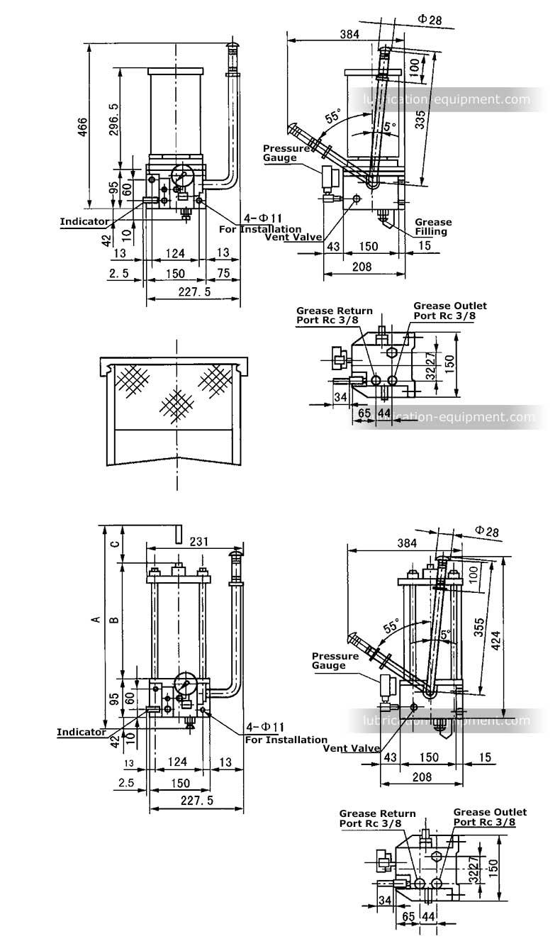 Mga Dimensyon ng Pag-install ng Grasa Lubrication Pump KMPS