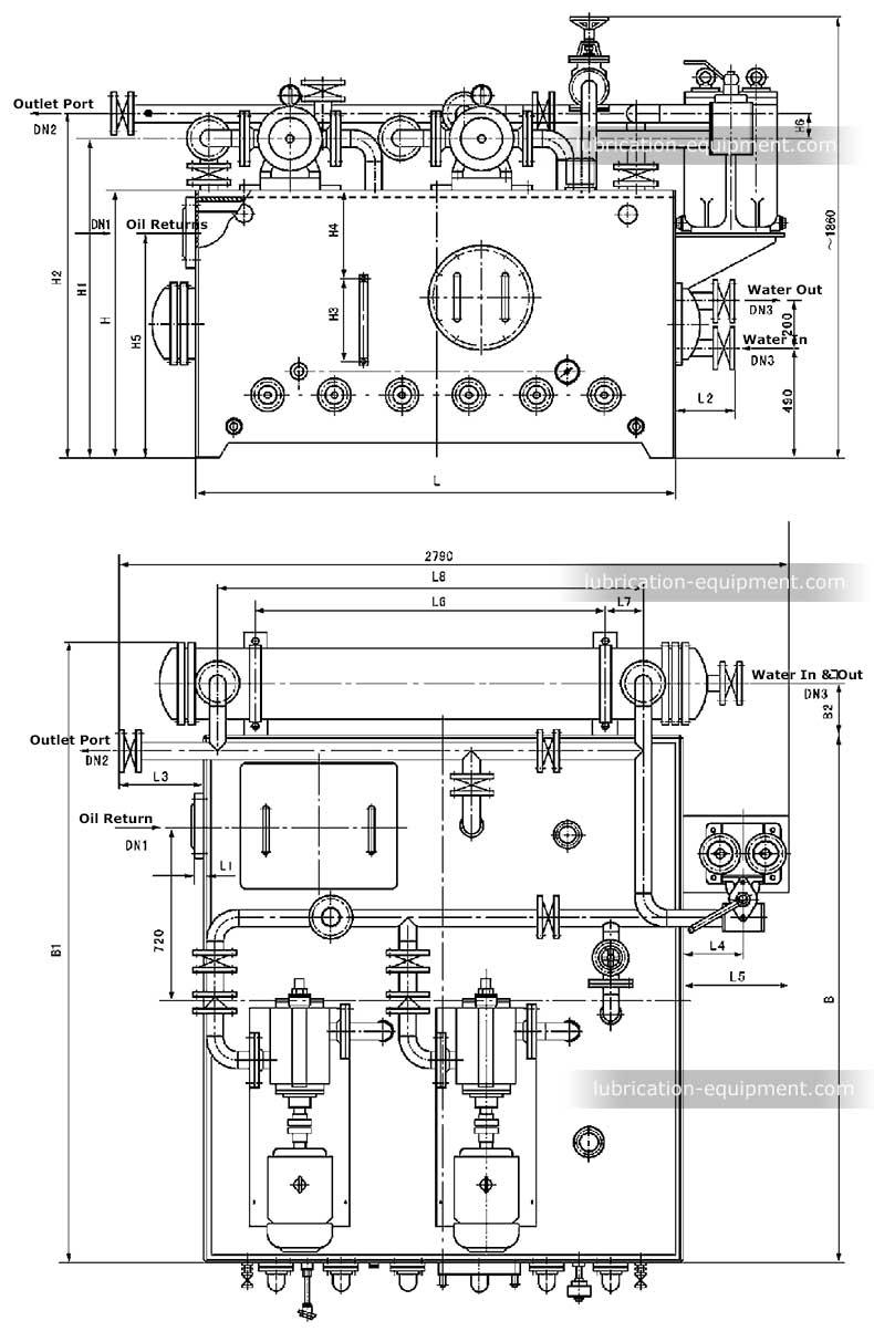 潤滑システムHSLSGC、潤滑システム寸法