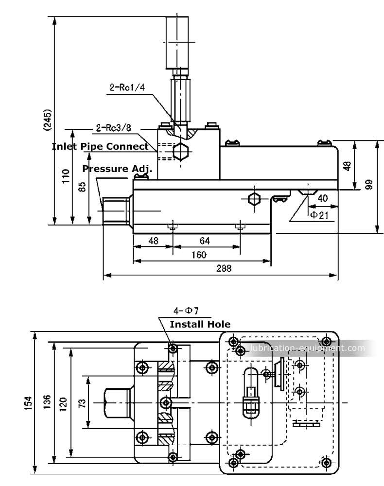Comutator de reglare a presiunii Valve YZF, dimensiunile PV